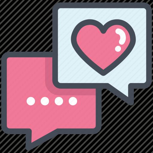 celebration, chat, heart, love, message, testimonial, valentine icon
