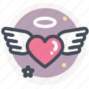 dating, heart, love, valentine, wedding, wing icon