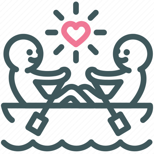 Love, romantic, canoe, rowing, paddle, valentine, boat icon
