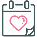 calendar, day, heart, love, valentine, valentine's day icon