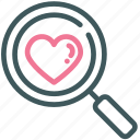find, heart, love, search, valentine icon