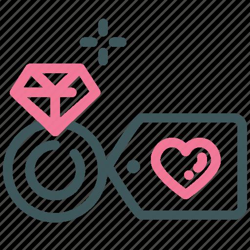 diamond, heart, love, marry, ring, valentine, wedding ring icon