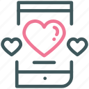 dating sites, heart, love, mobile, phone, smartphone, valentine icon