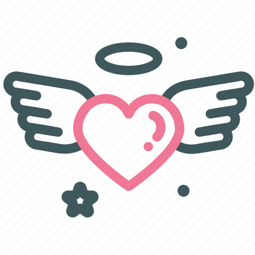 dating, heart, love, stars, valentine, wedding, wing icon