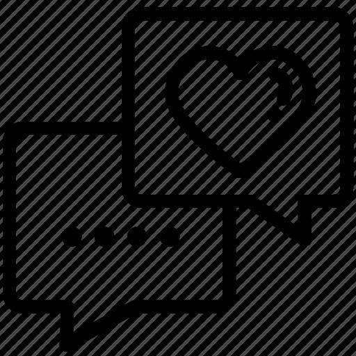 Heart, message, love, chat, valentine icon