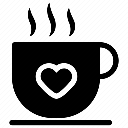 coffee, cup, heart, love icon