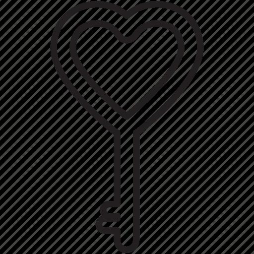 gift, heart, key, lock, love, valentine's icon