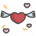 heart, love, valentine, wing icon