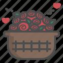 basket, floral, flower, love, rose, valentine