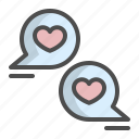 bubble, chat, conversation, heart, love, text, valentine