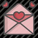 envelope, heart, inbox, letter, love, open, valentine