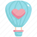 balloon, air, travel, honeymoon, love, valentines, valentines day icon
