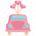 car, honeymoon, travel, love, valentines, valentines day, balloon icon