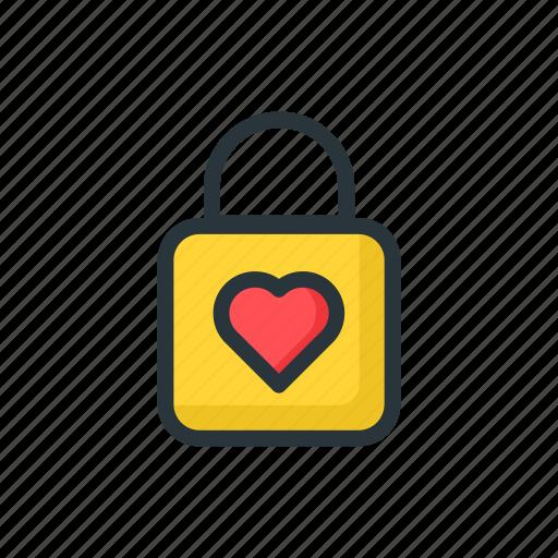 day, heart, key, lock, valentine, yellow icon