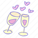cheers, date, drink, love, valentine, valentine's day icon