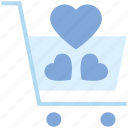 buy, cart, favorite, heart, shopping cart, trolley, valentine's day icon
