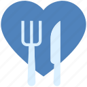 dining, fork, heart, knife, love, valentine's day icon