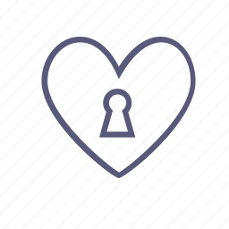 closed heart, heart, keyhole, lock, love, valentine's day, vday icon