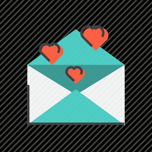 envelope, heart, love, message, romantic, valentine icon