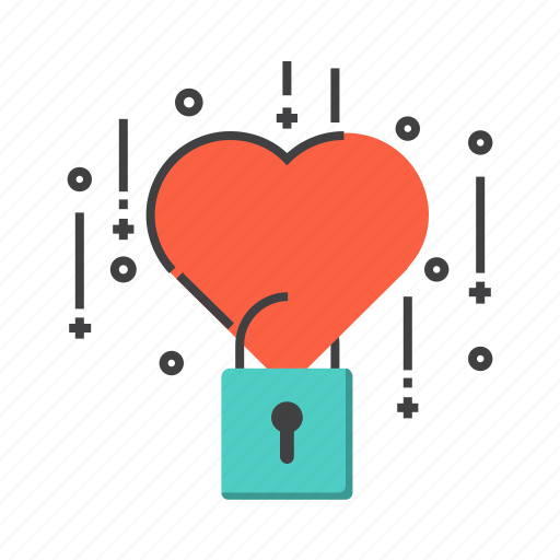 heart, love, padlock, protection, security, valentine icon
