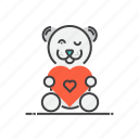 bear, heart, love, romantic, teddy icon