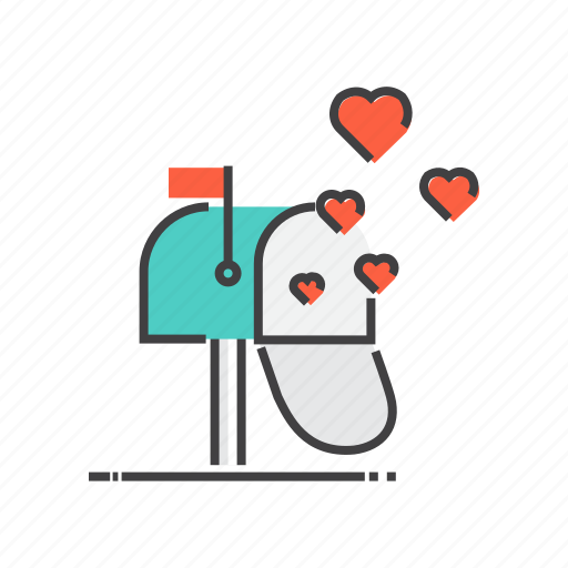 mailbox, valentines icon