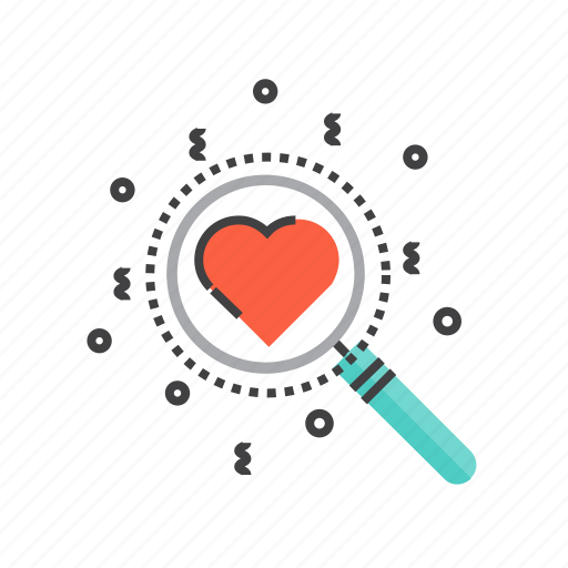 find, love, magnifying, romantic, search, valentine, valentines icon