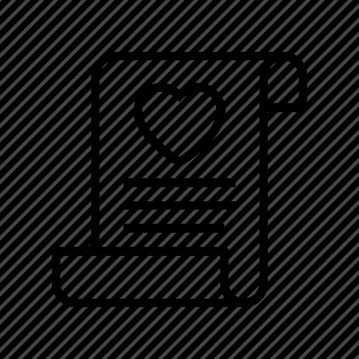 document, invitation, letter, love, valentine, wedding icon