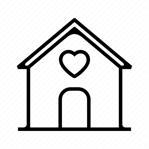 building, heart, home, hotel, house, love, valentine icon