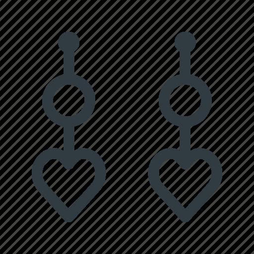 earrings, heart, jewelry icon