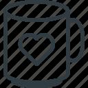 celebration, day, heart, love, mug, romantic, valentines icon