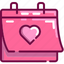 calendar, day, heart, love, valentine icon