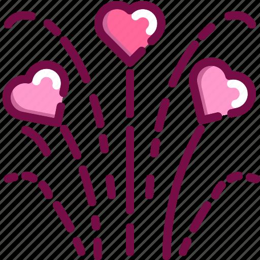 celebration, firework, heart, love, party, valentine icon