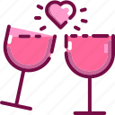 celebration, drink, heart, love, valentine, wine icon