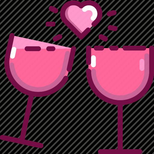 celebration, drink, heart, love, valentine, wine icon