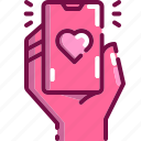 cellphone, chat, heart, love, message, mobile, valentine icon