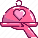celebration, dinner, food, heart, love, serve, valentine icon