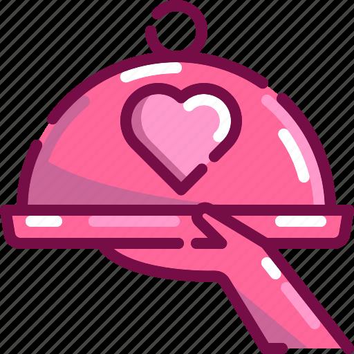 celebration, dinner, food, heart, love, serve, valentine icon