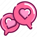 bubble, communication, heart, love, talk, valentine icon