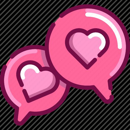 bubble, communication, heart, love, talk, valentine icon
