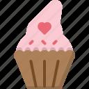 cupcake, decoration, dessert, heart, muffin, romance, valentines icon