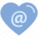 at, heart, internet, love, sign, valentine's day icon