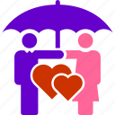 couple, marriage, protection, umbrella, under, love, safe