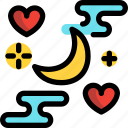 day, love, moon, night, valentines icon