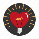 bulb, heart, idea, light, lightbulb, love icon