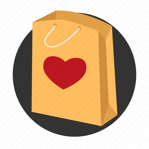 bag, gift, heart, love, package, paper bag, present icon