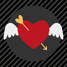 arrow, heart, love, wing, wings icon