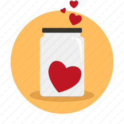 bottle, flask, heart, love, thrift-box icon