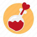 bulb, flask, heart, love, love potion, magic of love, potion icon