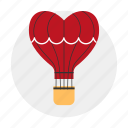 aerostat, air balloon, dating, heart, love icon